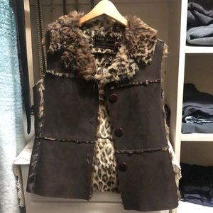 Cheetah and leather vest